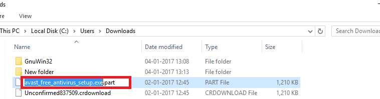 firefox incomplete downloads folder